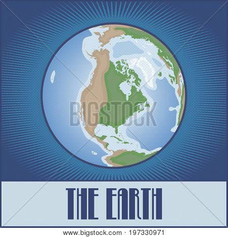 Vector flat globe of the Earth made in pop art comic book retro style with Ben-Day dots. With a gradient, transparencies and blending modes.