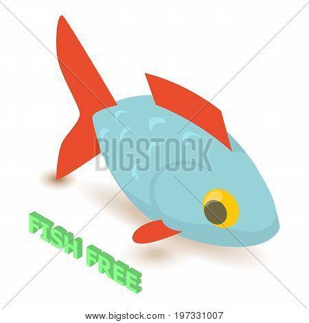 Fish allergen free icon. Isometric illustration of fish vector icon for web design