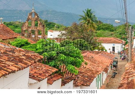 View on olonial village of Guane in Santander - Colombia