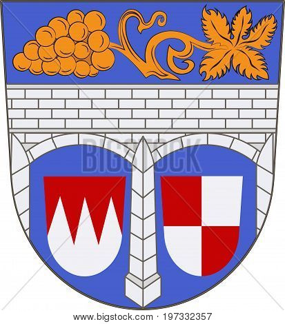Coat of arms of Kitzingen is a district in Lower Franconia of Bavaria Germany. Vector illustration from the