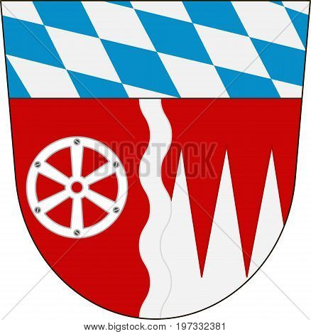 Coat of arms of Miltenberg is a district in Lower Franconia of Bavaria Germany. Vector illustration from the