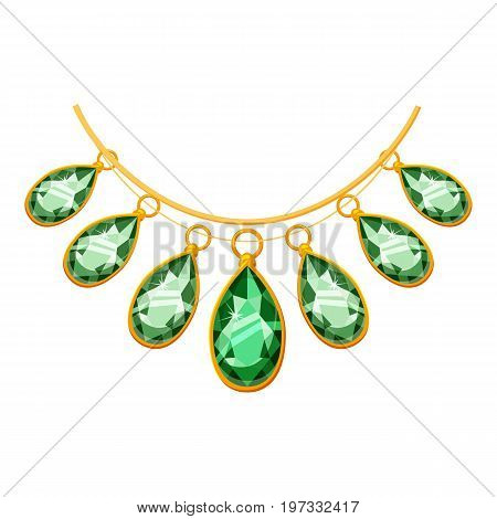 Necklace with green pendants icon. Cartoon illustration of necklace with green pendants vector icon for web design