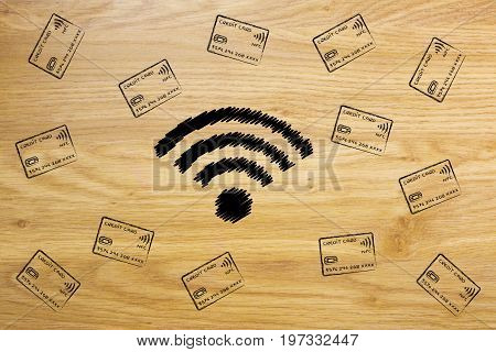 Wi-fi Symbol Surrounded By Falling Credit Cards