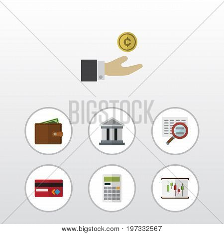 Flat Icon Finance Set Of Scan, Bank, Payment And Other Vector Objects