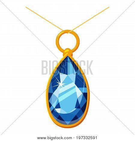 Pendant with a diamond icon. Cartoon illustration of pendant with a diamond vector icon for web design