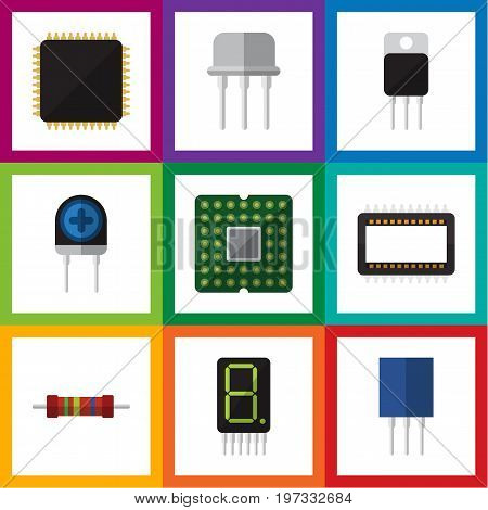 Flat Icon Device Set Of Mainframe, Receptacle, Display And Other Vector Objects