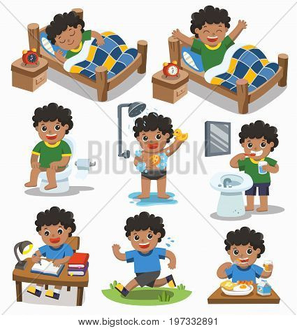 Isolated vector. The daily routine of African american boy on a white background. [sleep wake up eat sitting on the toilet running brush teeth take a shower and reading ]