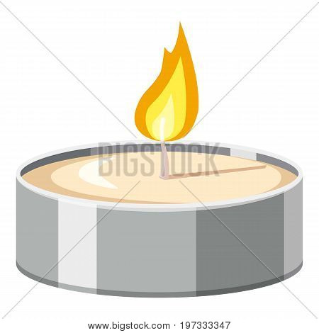 Tea candle icon. Cartoon illustration of candle vector icon for web design