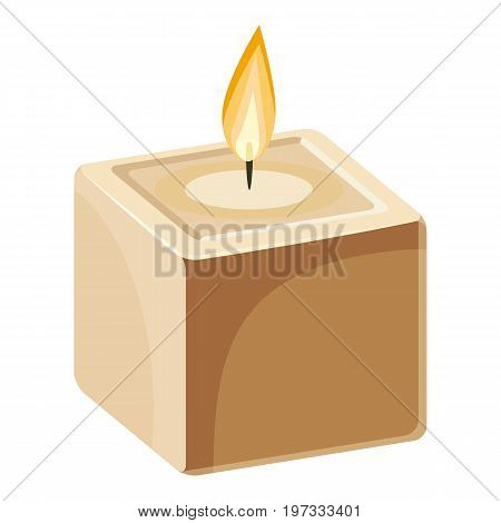 Cube-shape candle icon. Cartoon illustration of candle vector icon for web design