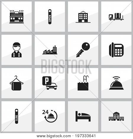 Set Of 16 Editable Plaza Icons. Includes Symbols Such As Hanger, Unblock Access, Reception And More