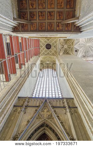 STRALSUND, GERMANY, 12TH SEPTEMBER 2012 - Interior of St Mary's Church tower in the Hanseatic city of Stralsund Germany