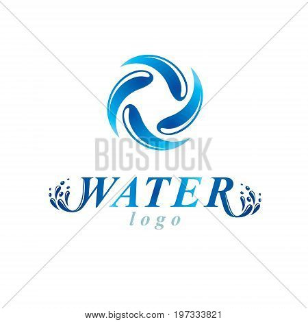 Vector blue clear water drop sign for use as corporate emblem in spa and resort organizations. Living in harmony with nature concept.