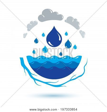 Ocean freshness theme vector logotype for use as marketing design symbol. Human and nature coexistence concept.