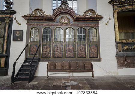 STRALSUND, GERMANY, 12TH SEPTEMBER 2012 - Ornate interior of St Mary's Church in the Hanseatic city of Stralsund Germany