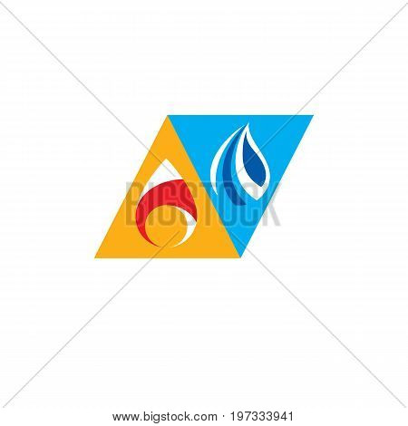 Water and fire as opposite nature elements Tao symbol.
