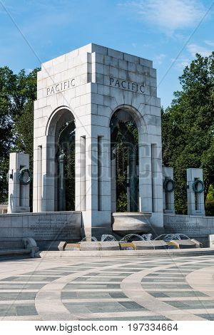 WASHINGTON, DC - JULY 12, 2017:  The Pacific triumphal arch of the World War II Memorial on the National Mall, dedicated to the Americans who served during World War II.