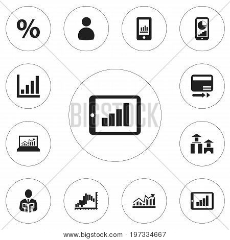 Set Of 12 Editable Statistic Icons. Includes Symbols Such As Growth, Phone Statistics, Laptop Statistics And More