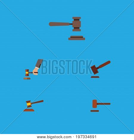Flat Icon Hammer Set Of Defense, Legal, Justice And Other Vector Objects