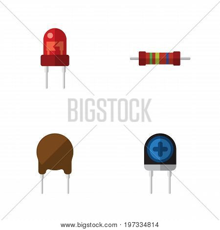 Flat Icon Device Set Of Transducer, Recipient, Resistance And Other Vector Objects