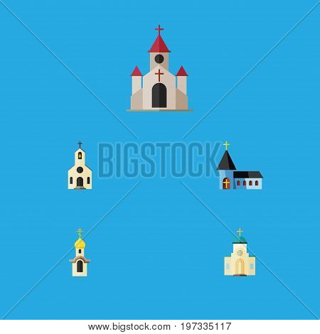 Flat Icon Church Set Of Structure, Religious, Building And Other Vector Objects