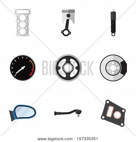 Flat Icon Parts Set Of Input Technology, Belt, Conrod And Other Vector Objects