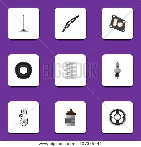 Flat Icon Parts Set Of Crankshaft, Gasket, Absorber And Other Vector Objects