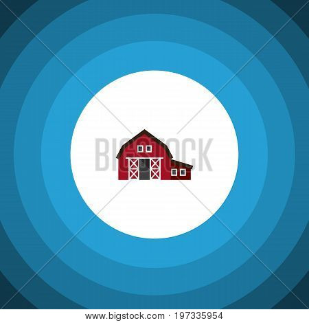 Ranch Vector Element Can Be Used For Ranch, Shed, Barn Design Concept.  Isolated Shed Flat Icon.