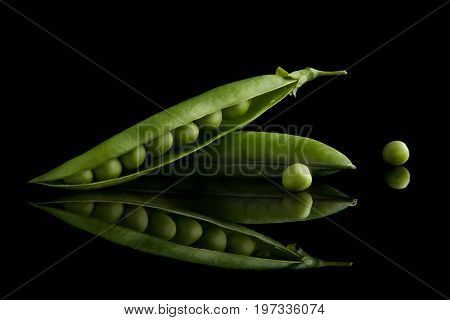 A pod of green peas gives a reflection on a black background. Green peas