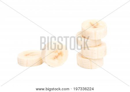Pulp of banana on white background. Pieces of banana pulp.