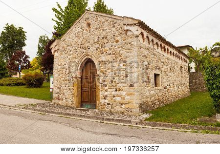 View of the St. Leonardo church in fagagna Italy
