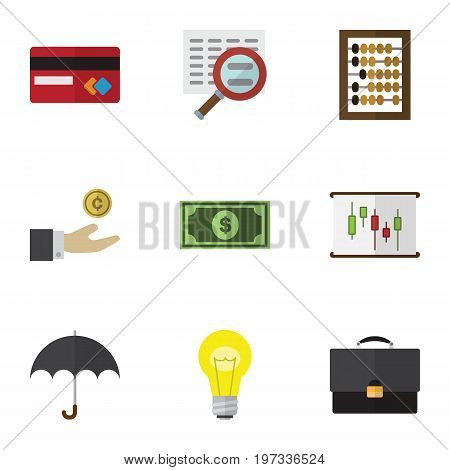 Flat Icon Gain Set Of Counter, Diagram, Greenback And Other Vector Objects