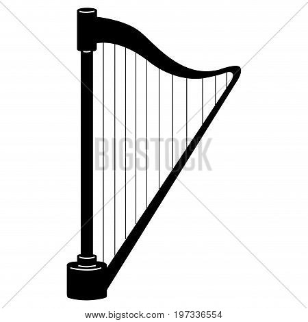 Isolated Harp Silhouette