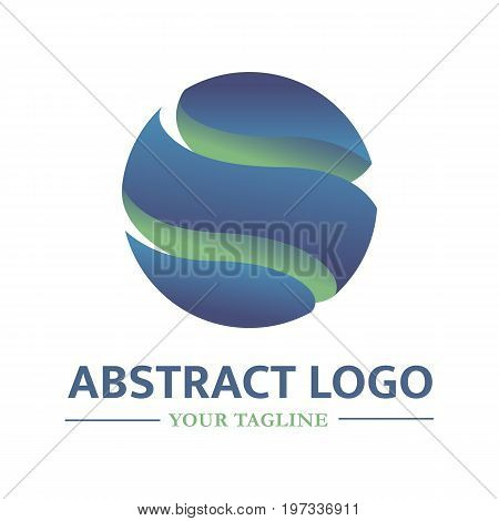 Vector logo template in the form of a globe. Technology icon. Can be used for communications companies high-tech innovation. Abstract logotype with blue-green gradients. EPS10.