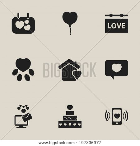 Set Of 9 Editable Heart Icons. Includes Symbols Such As Signboard, Pounce, Like And More