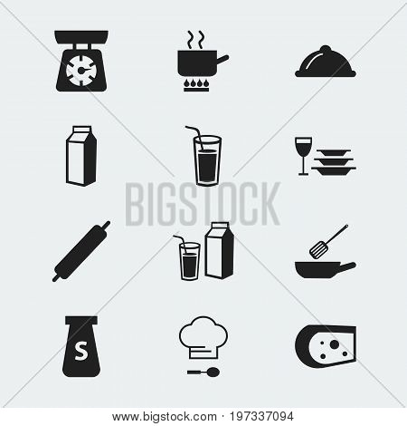 Set Of 12 Editable Restaurant Icons. Includes Symbols Such As Drink, Cooking Pot, Salt And More