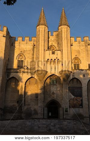 The Pope`s Palace Entrance, Avignon, Provence, France