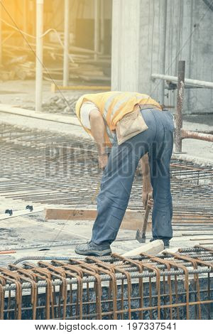 Reinforcing Ironworker Working On Concrete Formwork 2