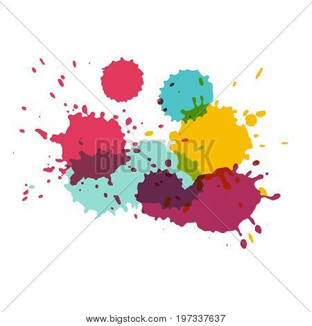 Watercolor splashes. Paint vector splat. Stains grunge texture. Isolated on white background. Pink purple yellow and turquoise colors