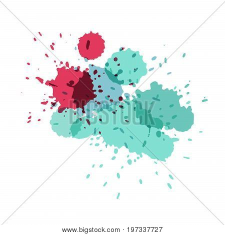 Watercolor splashes. Paint vector splat. Stains grunge texture. Isolated on white background. Pink blue turquoise and green colors