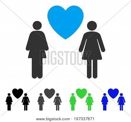 Lesbi Love Pair flat vector illustration. Colored lesbi love pair gray, black, blue, green pictogram variants. Flat icon style for graphic design.