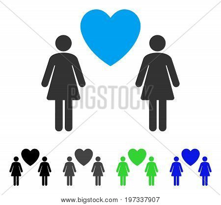 Lesbi Love Pair flat vector illustration. Colored lesbi love pair gray, black, blue, green pictogram versions. Flat icon style for application design.