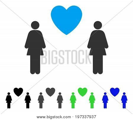 Lesbi Love Pair flat vector pictograph. Colored lesbi love pair gray, black, blue, green icon versions. Flat icon style for graphic design.