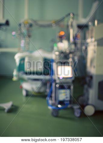Unfocused hospital ward with the advances utilities.