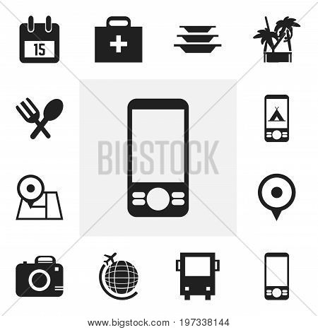 Set Of 12 Editable Trip Icons. Includes Symbols Such As Photo Cam, Navigation, Mobile Phone And More