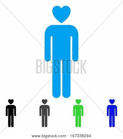 Lover Man flat vector pictogram. Colored lover man gray, black, blue, green pictogram variants. Flat icon style for application design.