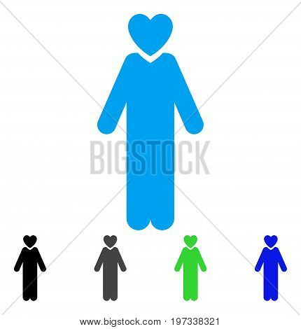 Lover Man flat vector pictograph. Colored lover man gray, black, blue, green icon versions. Flat icon style for graphic design.