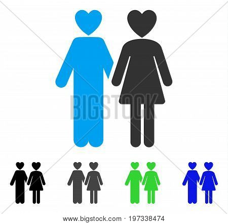 Lovers flat vector pictogram. Colored lovers gray, black, blue, green pictogram variants. Flat icon style for web design.