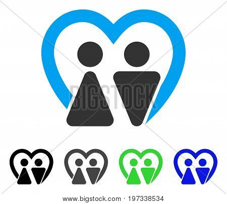 Marriage flat vector illustration. Colored marriage gray, black, blue, green icon versions. Flat icon style for application design.
