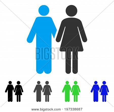 Married Couple flat vector pictograph. Colored married couple gray, black, blue, green pictogram variants. Flat icon style for web design.