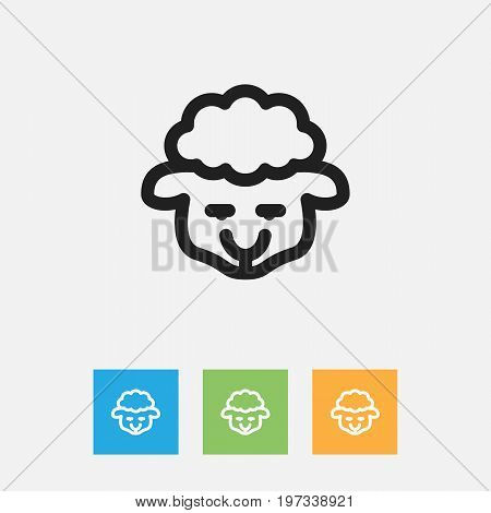 Vector Illustration Of Zoology Symbol On Lamb Outline